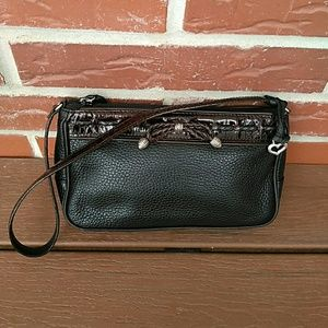 Brighton Black Brown Croc Leather Small Hobo
